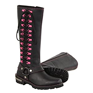 """Milwaukee Leather Women's Leather Harness Boots with Fuchsia Accent Loops (Black/Fuchsia Hot Pink, Size 7.5/14"""")"""