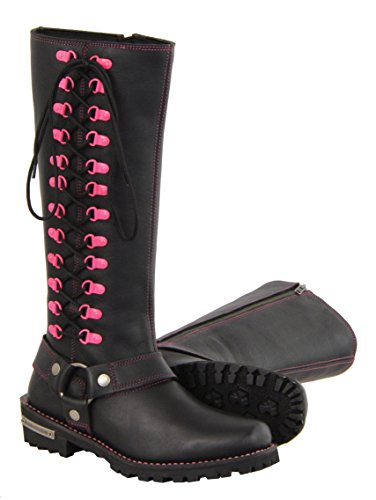 Milwaukee Leather Women's Leather Harness Boots with Fuchsia Accent Loops (Black/Fuchsia Hot Pink, Size 9.5/14
