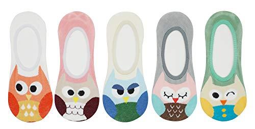 Bienvenu Women Girls Novelty Cartoon Owl No Show Socks Anti-skid Invisible Flat Boat Liner Socks 5 Pack, Low Cut ()