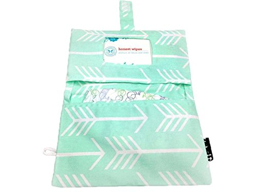Rilos + MiMi Diaper Clutch with wipes window pocket, side loop for wrist strap, Velcro closer, and machine washable (Mint Arrow)