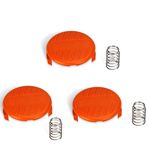 Biowow 3 Pack Trimmer Replacement 385022-03 Cover Weed Eater Spool Bump Cover&Spring for Black and Decker Black Decker RC-100-P, Weed Eater Cover, Weed Wacker Parts