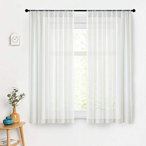 MRTREES Sheer Curtains White 63 inch Length Sheers Living Room Curtain Panels Light Filtering Voile Window Treatment Set Bedroom Drapes Rod Pocket 2 Panels Off White (Sheers Off Window White)