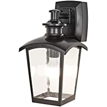 Home Luminaire 31703 Spencer 1-Light Outdoor Wall Lantern with Seeded Glass and Built-in GFCI Outlets, Black