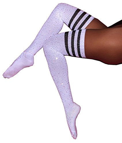 L&ZZ Women Fashion Sexy Rhinestone Striped Over Knee High Stockings Socks One Size -