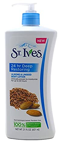 St. Ives 24 hour Deep Restoring, Almond & Linseed Body Lotion 21 oz ( Pack of 6) - Body Lotion Deep Moisture