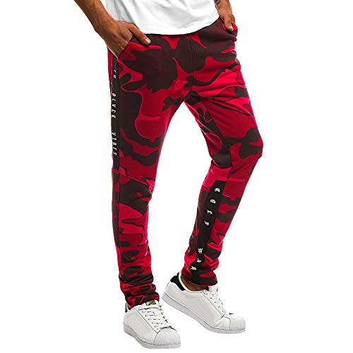 〓LYN Star〓 Mens Running Trousers Casual Loose Fit Camouflage Multi Pockets Pants Joggers Pants Gym Sport Training Pants