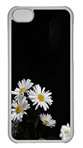 Customized iphone 5C PC Transparent Case - White Flowers 3 Personalized Cover