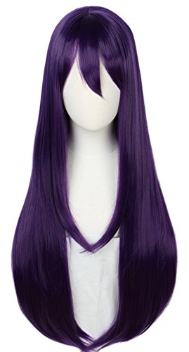Linfairy Long Purple Wig Halloween Cosplay Wig For Women 85CM