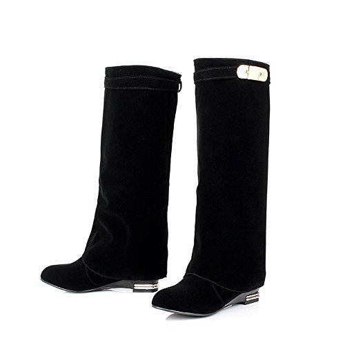 Allhqfashion Mujeres High-top Solid Pull-on Round Botas Con Tacones Cerrados Y Tacón Alto Black-frosted