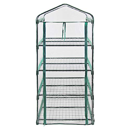 MKGreen Green House Four Tier PVC Plastic and Steel Pipe Mini Outdoor Garden