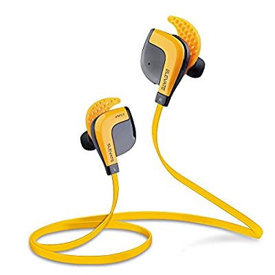 """Fit Acoustics Elevate Wireless Bluetooth Headphones. Patented """"Stays In Your Ears"""" Technology. Noise canceling with microphone and come in Amazon Orange. Best Sport Workout Earbuds. New 2015 Model."""