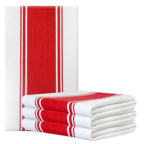 Kitchen Dish Towels - Set of 4 Cotton Tea Towels 20 x 28 inch - Best Dish Cloths for Hand Towels or Embroidery in Vibrant Colors - Red