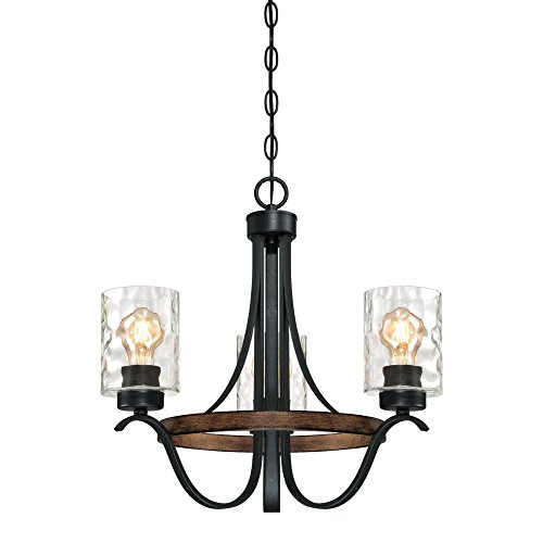 Westinghouse Lighting 6331800 Barnwell Three-Light Indoor Chandelier, Textured Iron and Barnwood Finish with Clear Hammered Glass, 3