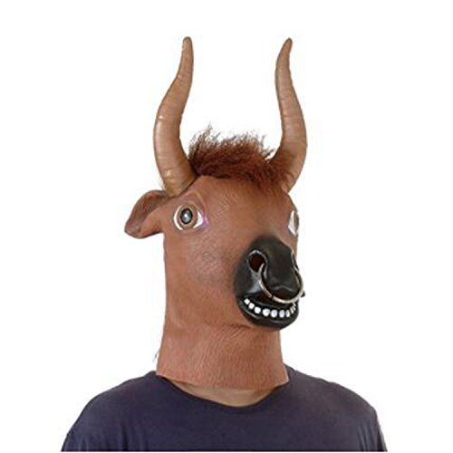 Hyena Dogs For Costume (Novelty Latex Cow Animal Head Mask For Halloween Costume Cosplay Party Gift Party Cosplay)