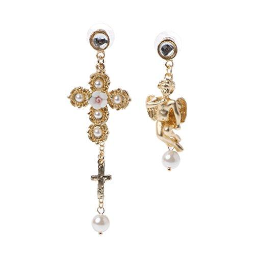 Hibye Women Asymmetric Lace Bow Cherub Angel Drop Dangle Earrings Baroque Pearl Jewelry, White