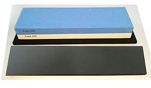 scherenkauf Messer-Schä rf-Set, 3-teilig, 6cm breiter!!! Korund FEPA 220/400/3L mit behandeltem Abziehleder
