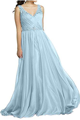 Himmel Blau Kleider Abendkleider Ausschnitt V Brau Ballkleider mia Brautmutterkleider Formal Langes Partykleider Jugendweihe La aOF7Snqw