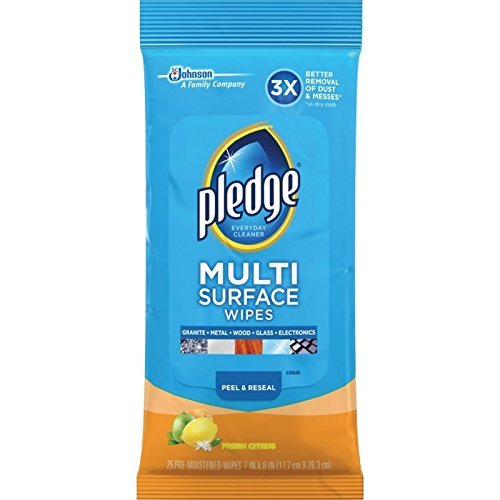 Pledge Multi Surface Everyday Wipes Fresh Citrus, 25 CT (Fresh Citrus, Pack - 6)