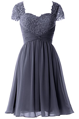 Blue Formal Mother MACloth Sleeve Dress Short Women Party of Cap Steel Bride Gown Lace xCnxw6FOq8