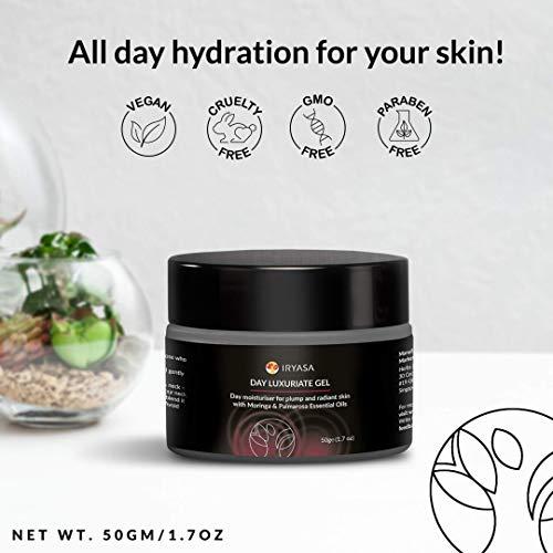 Iryasa Day Luxuriate Gel - Non Comedogenic Face Moisturizer for Sensitive Skin - Hydrating, Mattifying Gel Moisturizer for Oily Skin - Natural Moisturizer for Face with Moringa, Palmarosa oils - 1.7oz