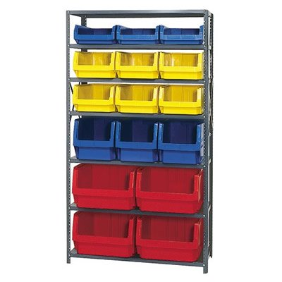 Magnum Bin Unit with 7 Shelves & 16 Mixed Size and Color Bins (1 - Magnum Bin Unit