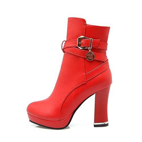 AgooLar Damen Niedrig-Spitze Reißverschluss PU Hoher Absatz Rund Zehe Stiefel Rot