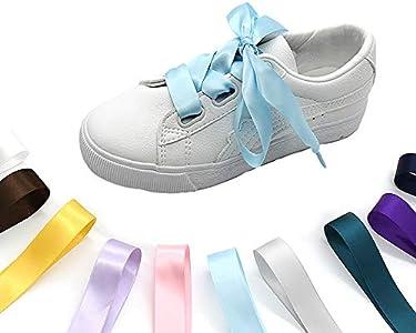 various colors Flat Shoelaces Ribbon Satin Shoe Laces For Sneaker Sport Shoes
