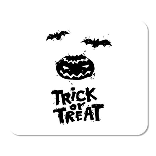 Suike Mousepad Computer Notepad Office Happy Halloween Fly Er Pumpkin Black on White Lettering Party Flat Design Home School Game Player Computer Worker 9.5x7.9 Inch -