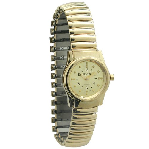 REIZEN Braille Gold-Tone Womens Watch with Exp. Band by Reizen