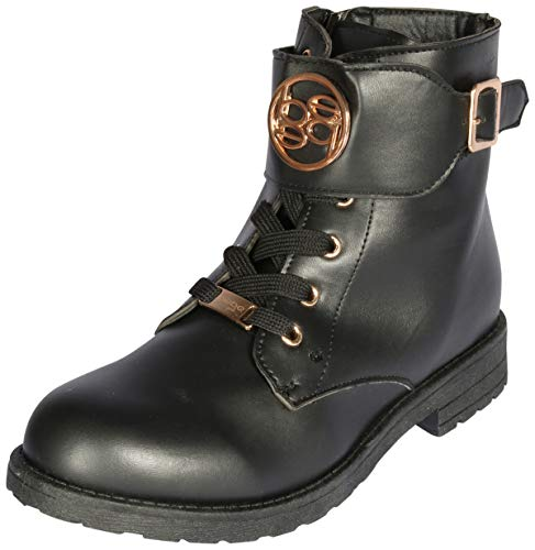 bebe Girls Classic Combat-Style Boots (1 M US Little Kid/Black/Gold) -