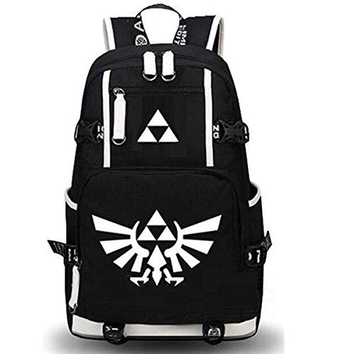 NSOKing Hot Legend of Zelda Triforce Cosplay Student Travel Backpack Bag (Length 13'' Height 17.3'' Width 5.9'', Black) by NSOKing