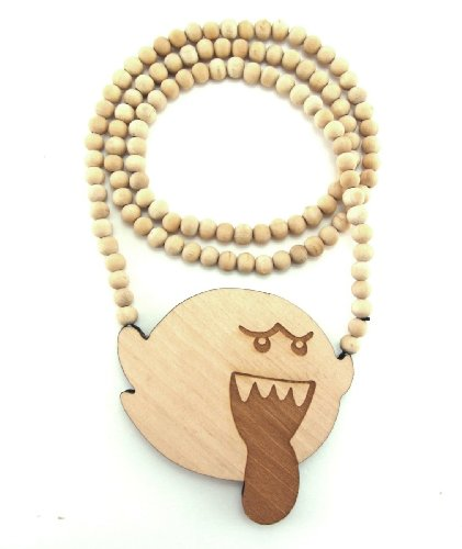 Large Wooden Mario Bros Boo Natural Good Quality Wood Pendant & Chain