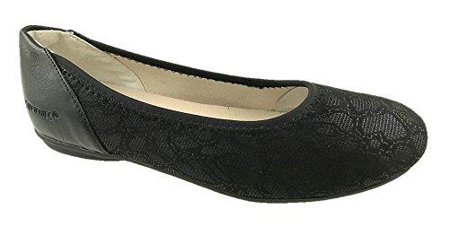 STRETCHIES Ladies Slip On Flat Comfort Walking Ballerina Shoes Size UK 4-9 Black Lace UBVxbogSoM
