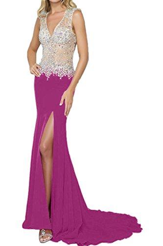 fiesta fijo fucsia Mujer largo recorte ivyd de noche para de Elegante ressing piedras Ranura vestido rueckenfrei V vestido vestido Prom 4HwxHzq7