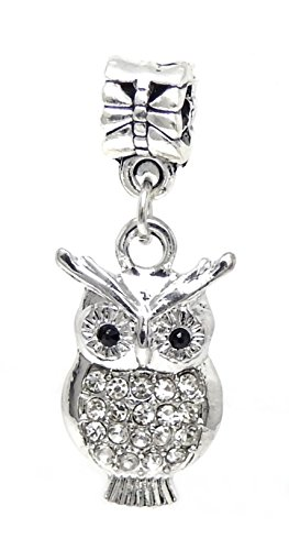 J&M Dangle Owl with Clear Crystals Charm Bead for Charms Bracelets