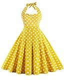 ZAFUL Women's 50s Vintage Rockabilly Halter Neck Dress Swing Tea Dress Party Cocktail Gown (S, Yellow Polka Dot)