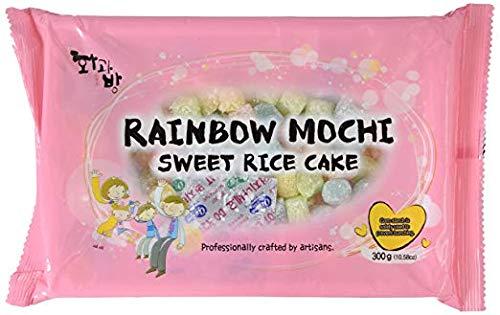 Mochi Sweet Rice Cakes MINI Sweet Rice Cake - Rainbow 300G 10.58oz by BobaStore (Pack of 4)
