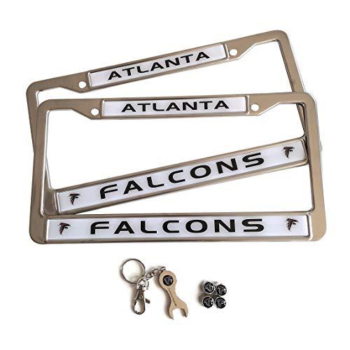 MT-Sports Football Team 2 Pcs Car Licenses Plate Stainless Steel Frames & 4 Pcs Tire Valve Stem Caps (Atlanta Falcons)
