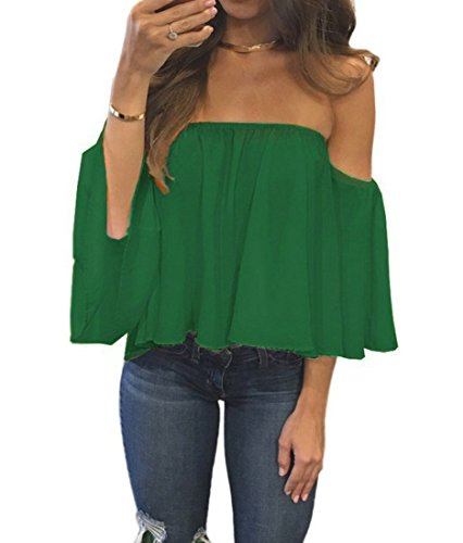 Green Tee T-shirt Top - Womens Summer Short Sleeve Casual Tee Shirts Chiffon Strapless Blouses and Tops (Green, S)