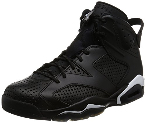 Nike Jordan Mens Air Jordan 6 Retro Black/Black White Basketball Shoe 10 Men US (Jordan Retro 6 For Men)
