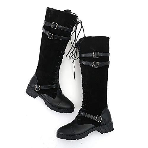 Womens Ladies Shoes Flock Roman Riding Knee High Cowboy Boots Martin Long Boots Black