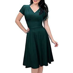 734e549e8a Missmay Women s 1950 S Rockabilly Skaters Swing Ball Gown Dress XXL Dark  Green