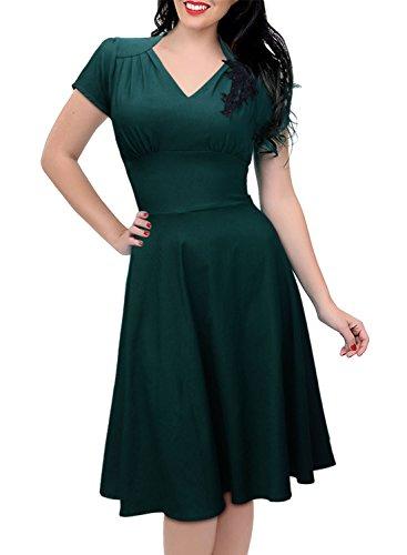 Missmay Women's 1950'S Rockabilly Skaters Swing Ball Gown Dress M Dark Green