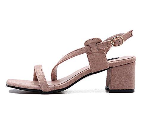 Sandalias de Correa T Abierta Zapatos de Tacó Correa de Tobillo Elegantes y Acogedor Sandalias de Gruesos para Bodas Fiestas y Partido Rosado