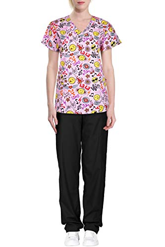 edical Scrub Set with V Neck Top and Cargo Pants Hot Pink Black XL ()