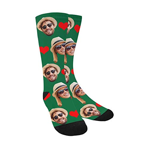 Custom Personalized Photo Pet Face Printed Red Love Heart Green Crew Socks with 2 Faces for Men Women - Heart Custom