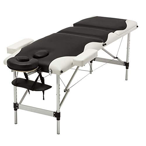 Uenjoy Folding Massage Table Professional Folding Massage Bed,3 Fold Black & White Alu