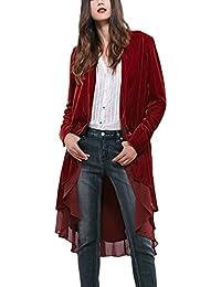 Womens Long Sleeve Velvet Cardigan Coat with Asymmetric Chiffon Hem
