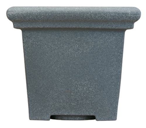 Akro Mils TES24000G21 24-Inch Terrazzo Square Pot, Black Granite by Akro-Mils