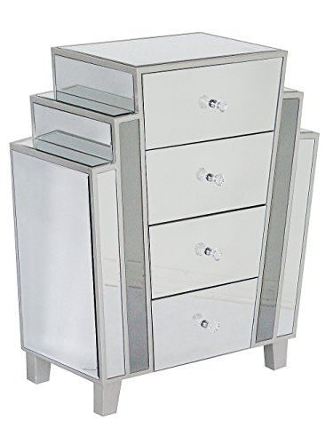 Heather Ann Creations Modern Marquee Art Deco Style Mirrored Storage Chest with 4 Drawers, 27